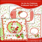Ho Ho Ho Christmas Scalloped Tent Card