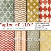 SPICE OF LIFE - digital paper pack - 8 papers 12in x 12in CUOK
