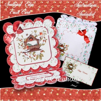 Scalloped Edge Easel Card - Christmas Robins