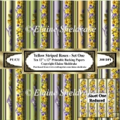 Yellow Striped Roses - Set One - Ten 12 x 12 Printable Papers