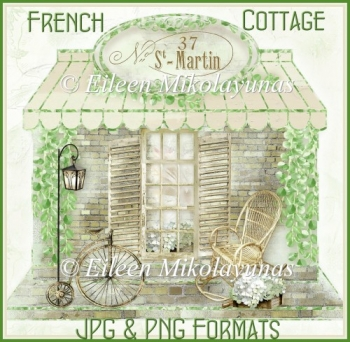 CU Rustic French Cottage Clipart in BOTH JPG & PNG Formats