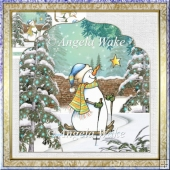 snowman follow that star shaped card with decoupage