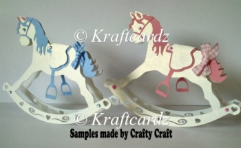 3D Rocking Horse Greetings Card (Hand and machine cut )