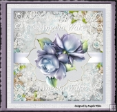 Blue rose and lace 7x7 card