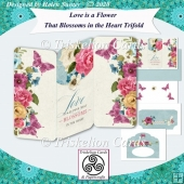 Love Is A Flower 3D Decoupage Trifold 3 Panel Card Kit