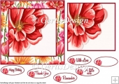 Big Red Flower Card Topper 6 inch 107
