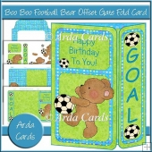 Boo Boo Football Bear Offset Gate Fold Card