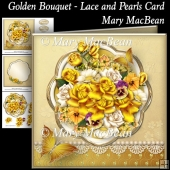 Golden Bouquet - Lace and Pearls Card