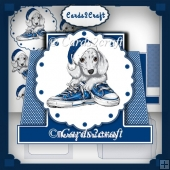 Blue Christmas stepper card set