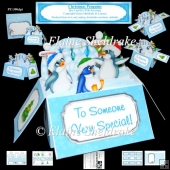 Christmas Penguins Box Card Kit With Envelope & Masses Of Tags