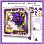 Purple Rose Scalloped Corner Card Kit