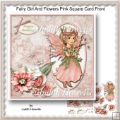 Fairy Girl And Flowers Pink Square Card Front