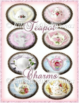 Vintage Cottage Chic Teapot Charms Embellishments Set