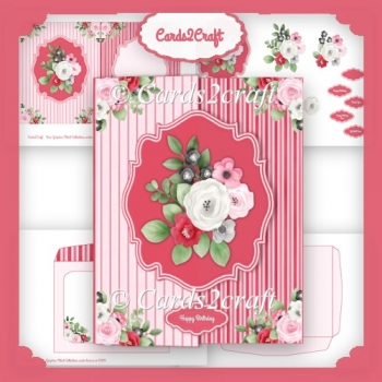 Red White and pink foldback card