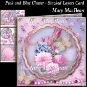 Pink and Blue Cluster - Stacked Layers Card