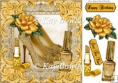 pretty gold sparkle shoes with gold rose/lipstic 8x8