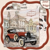 VINTAGE CAR Shaped 7.5 Card Kit & Decoupage For Men