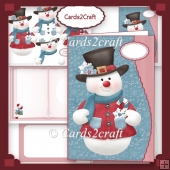 Wavy edge Snowman card set