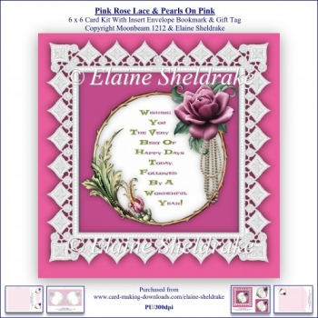 Pink Rose Lace & Pearls On Pink 6 x 6 Card Kit + Insert Envelope