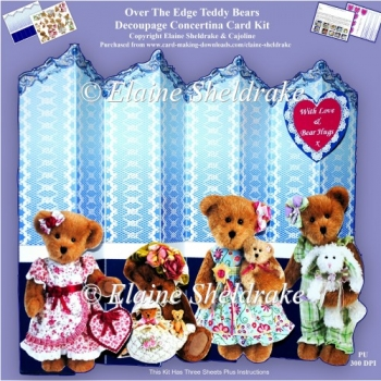Teddy Bears - Over The Edge Decoupage Concertina Card Kit