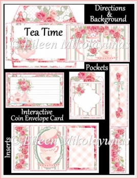 Tea Time Interactive Coin Envelope Flip Pocket Card Set