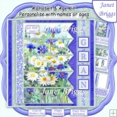 MEADOW FLORALS 7.5 Alphabet & Age Quick Card Kit Create Any Name
