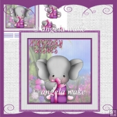Elephant birthday wishes card with decoupage