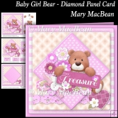 Baby Girl Bear - Diamond Panel Card