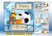Male Birthday Beer and Football Card