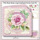 Pink Rose Spray Large Scalloped Corner Card Kit