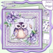 ANOTHER YEAR OLDER WISE OWL LILAC 7.5 Decoupage & Insert Kit