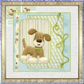 friendly little dog 5.5x5.5 card with decoupage