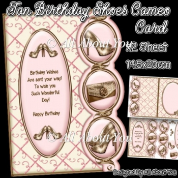 Tan Birthday Shoes Cameo Card