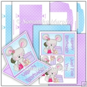 Lilac Mall Mouse PDF Easel Card Download