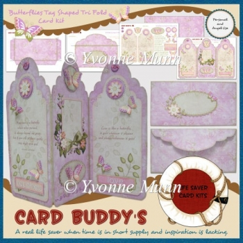 Butterflies Tag Shaped Tri Fold Card Kit