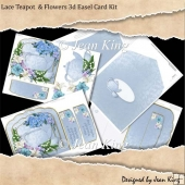 Lace Teapot & Flowers 3d Easel Card Kit