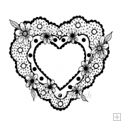 Floral Dotty Heart Digital Stamp - Commercial and Personal Use