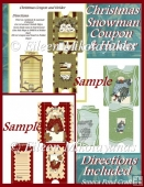 Winter Snowmen Envelopes and Christmas Coupon Inserts Set