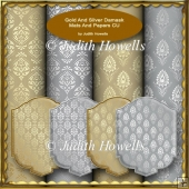 Gold And Silver Damask Mats And Papers CU