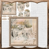 footsteps in the snow vintage card with shaped layers