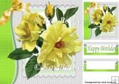 wild yellow painted roses with bow 8x8