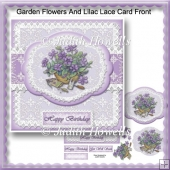 Garden Flowers And Lilac Lace Card Front