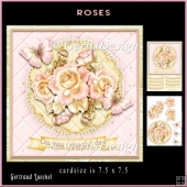 Lace Flowers Butterlies light peach creme roses topper 903