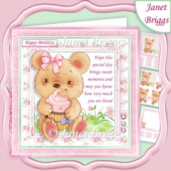 CUTE BEAR & CUPCAKE 7.5 Decoupage Verse Insert Kit