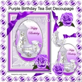 Purple Birthday Tea Set Decoupage Card