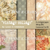 VINTAGE COLLAGE - 8 X A4 sized high quality digital papers