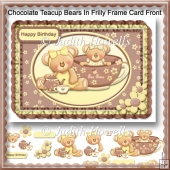 Chocolate Teacup Bears In Frilly Frame Card Front
