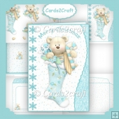 Teddy and stocking wavy edge card set