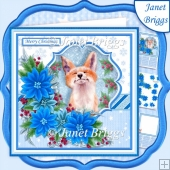 FOX & BLUE POINSETTIA 7.5 Christmas Decoupage & Insert Mini Kit