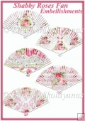Set of 5 Shabby Roses Fan Embellishments